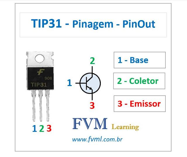 Pinagem - Pinout - Transistor - NPN - TIP31 - Características