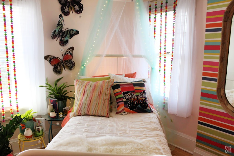 a spring decorated bedroom