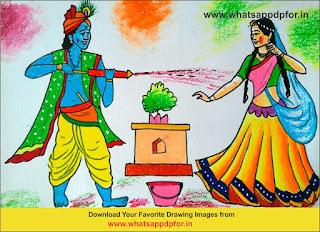 holi drawing radha krishna
