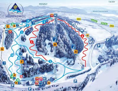 Ośrodek Czorsztyn Ski, góra Wdżar, mapa tras narciarskich i kolejek i wyciągów