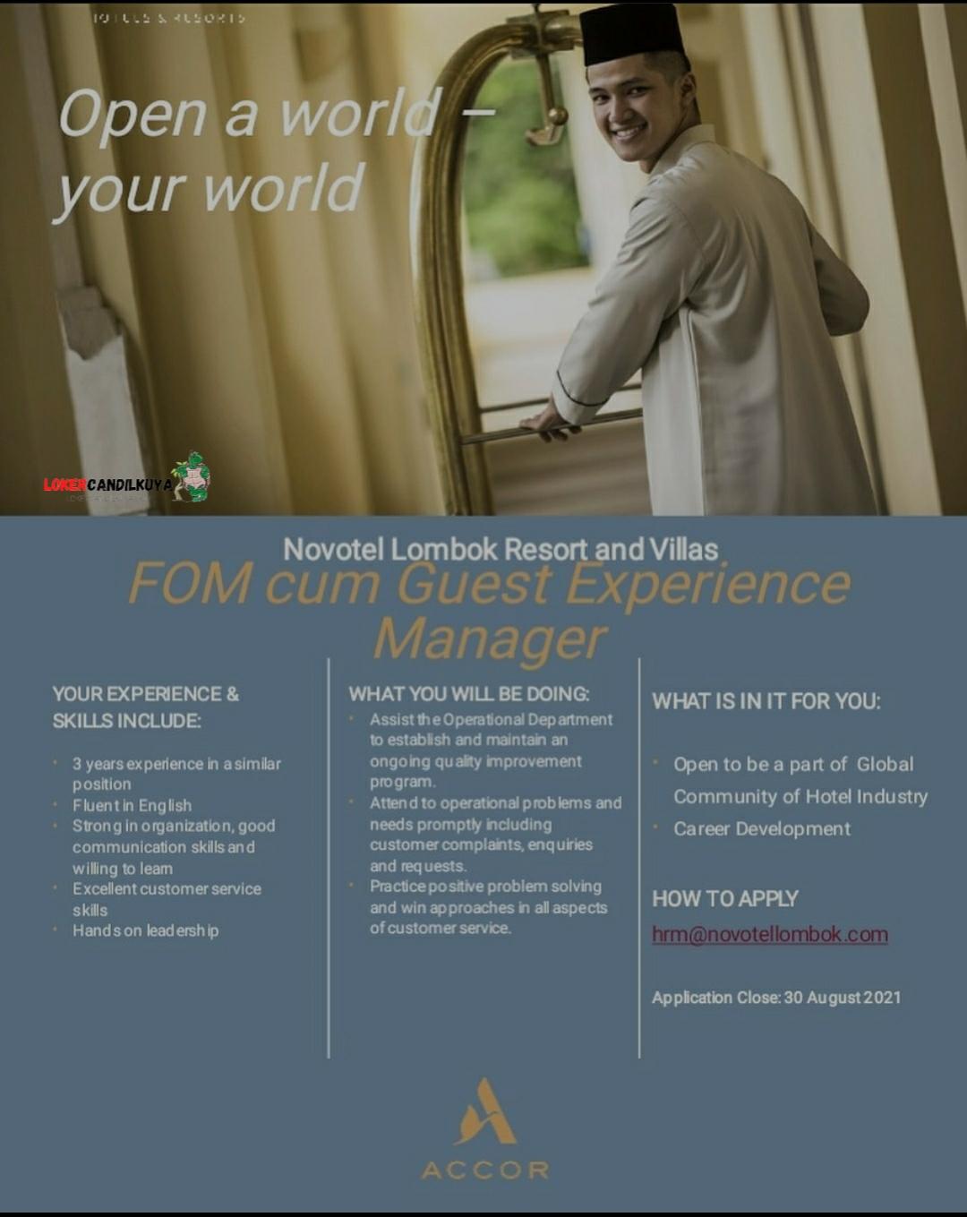 Lowongan Kerja FOM Novotel Lombok