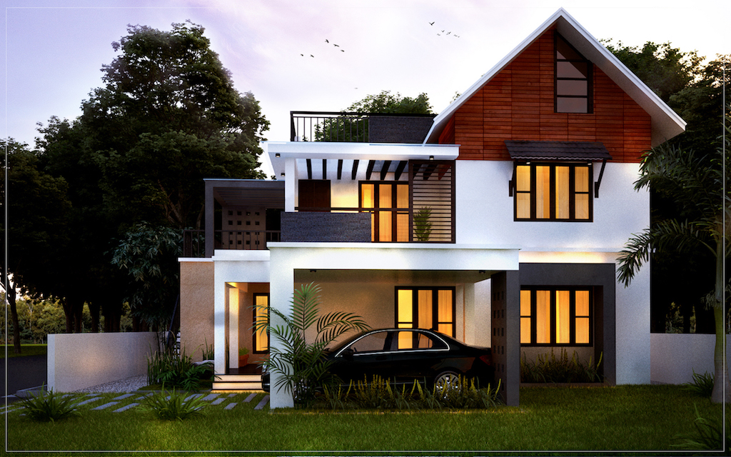 4 bedroom house plans Kerala style architect