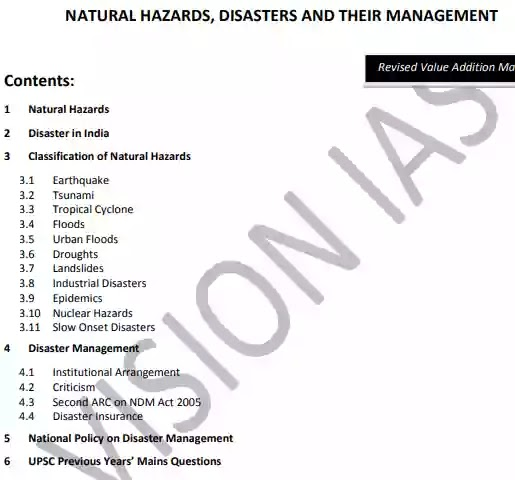 Vision IAS Disaster Management Notes PDF