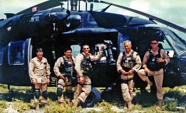 The crew of Black Hawk helicopter Super 6-4 a month before the Battle of Mogadishu; from left: Winn Mahuron, Tommy Field, Bill Cleveland, Ray Frank, and Mike Durant (September 1993) Photograph by Army Ranger Phil Lepre
