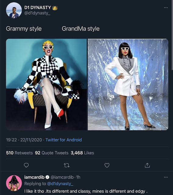 """#BBNaija Erica: Cardi B Sings Praise for Erica Against Twitter Troller, says she is """"Different and Classy""""."""