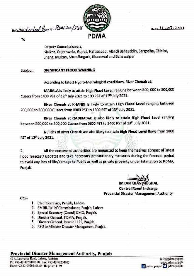 FLOOD WARNING ISSUED BY PDMA
