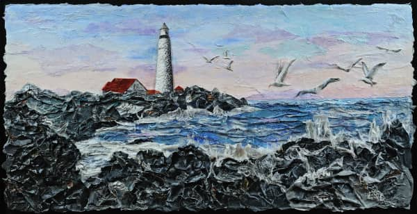 textured paper collage of lighthouse on rocky coast with many seagulls in air