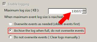 Pengaturan Archive Event Log