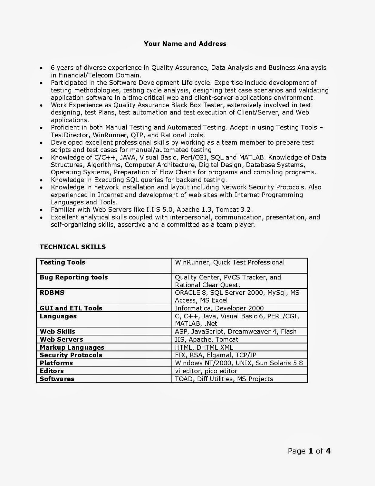 sample qa resumes resume format download pdf - Sample Qa Resume