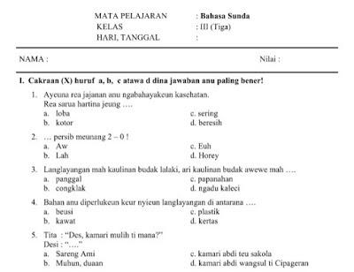 Soal PAT Bahasa Sunda Kelas 3 Semester 2 Tahun 2020 ...