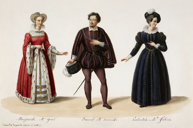 Eugène Du Faget: costume designs for Meyerbeer's Les Huguenots - Julie Dorus-Gras as Marguerite, Adolphe Nourrit as Raoul, Cornélie Falcon as Valentine