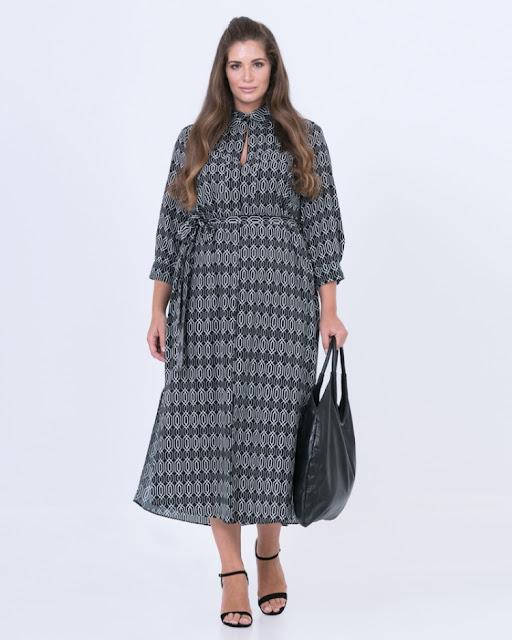 Εμπριμέ σεμιζιέ φόρεμα Mat fashion