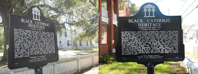 Front and back views of Black Catholic Heritage marker in St. Augustine
