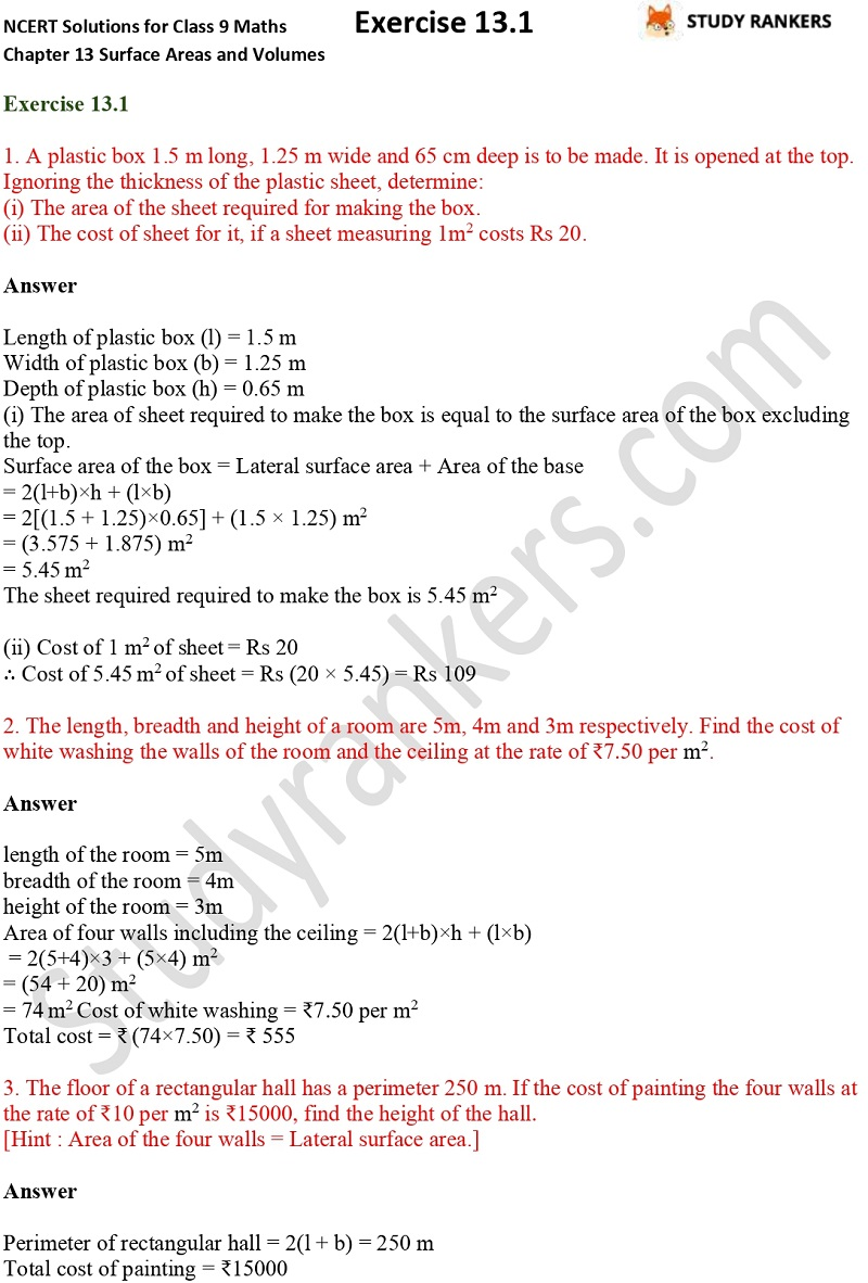 NCERT Solutions for Class 9 Maths Chapter 13 Surface Areas and Volumes Exercise 13.1 Part 1