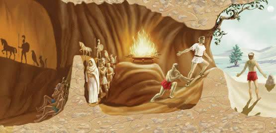 Ilustração do mito da caverna - de Platão