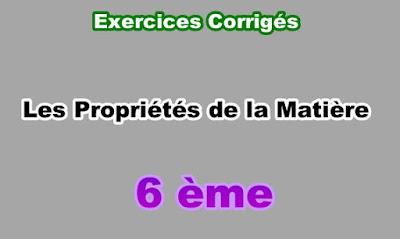 Exercices Corrigés Propriétés de la Matière 6eme en PDF