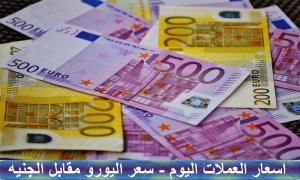 سعر اليورو مقابل الجنيه المصري اليوم