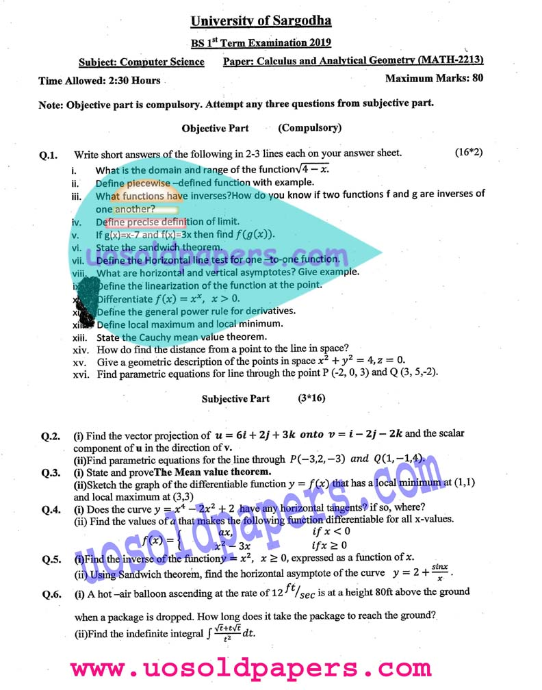 MATH-2213: Calculus and Analytical Geometry, BS Computer Science, Term System