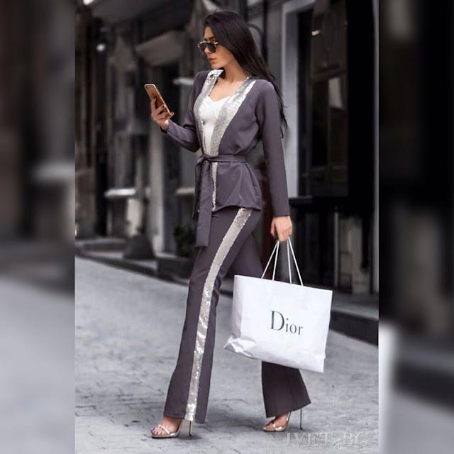 Γυναικείο γκρι κοστούμι CHLOE - Παντελόνι και σακάκι