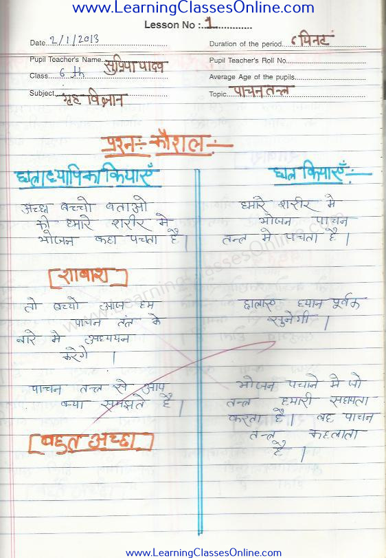 Micro Teaching Home Science Lesson Plan in Hindi ( पाचन तंत्र )