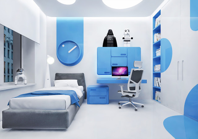Дизайн детской комнаты для мальчика в модном голубом цвете. 10 уникальных проектов