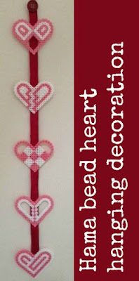Hama bead hanging decoration for Valentine's Day