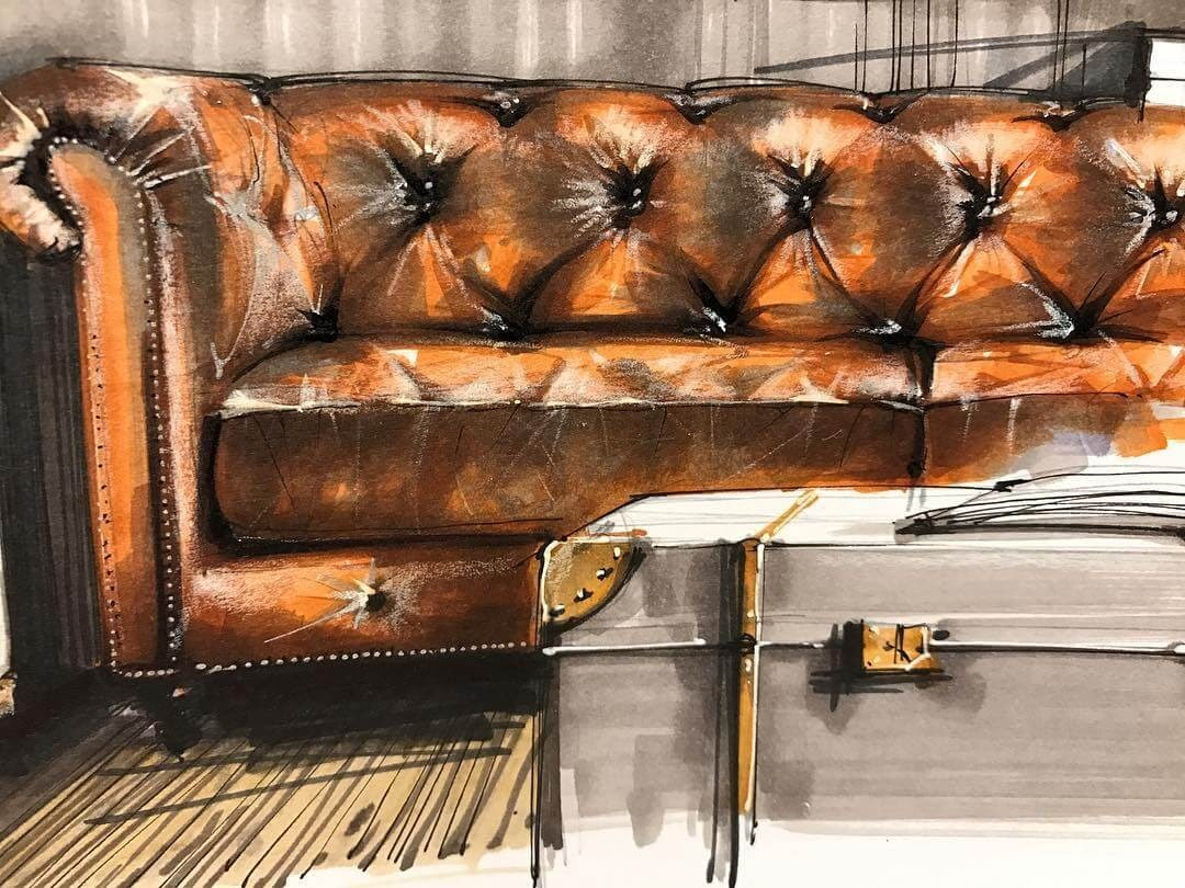 12-Chesterfield-Sofa-Sergei-Tihomirov-СЕРГЕЙ-ТИХОМИРОВ-Varied-Living-Room-Interior-Design-Sketches-www-designstack-co