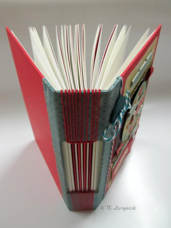 caderno scrapbook viagem com encadernação longstitch
