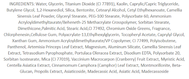 VT Cosmetics Cica Capsule Mask Ingredients