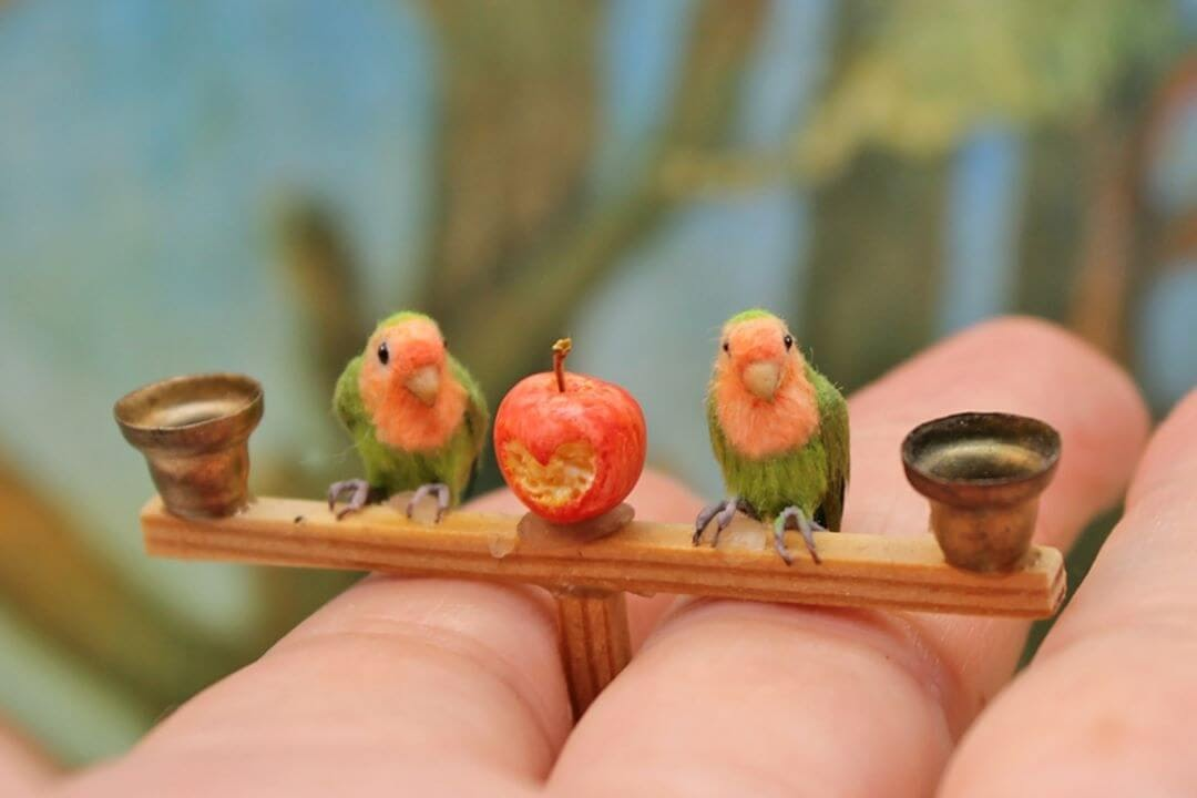 04-Lovebirds-with-love-apple-Katie-Doka-Hand-Sculpted-Dollhouse-Miniature-Animals-www-designstack-co