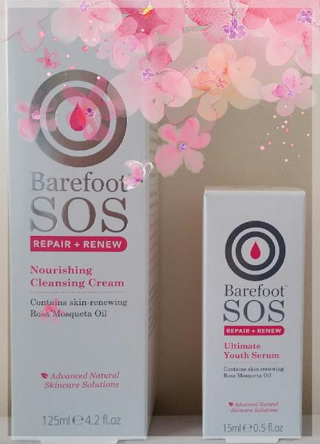 Barefoot SOS Repair + Renew - serum i krem do oczyszczania twarzy z olejkiem różanym