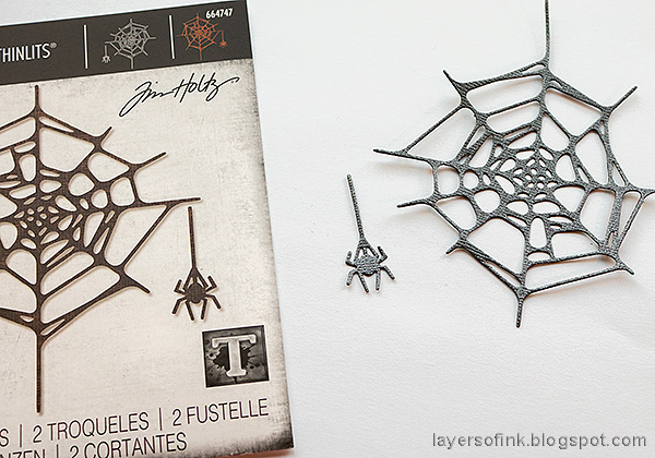 Layers of ink - Old Spooky House Tutorial by Anna-Karin Evaldsson. Die cut spider web.
