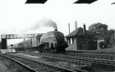A4 4496 'Dwight D Eisenhower' passing through Brookmans Park station 1946 Image from Colin Turner / Ron Kingdon, part of the Images of North Mymms collection