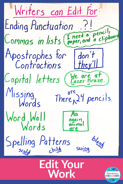 Reminders to edit come in many forms!  Here is another to add to your toolbox.  I keep this anchor chart up all year long.  Click on the link for additional anchor chart ideas.