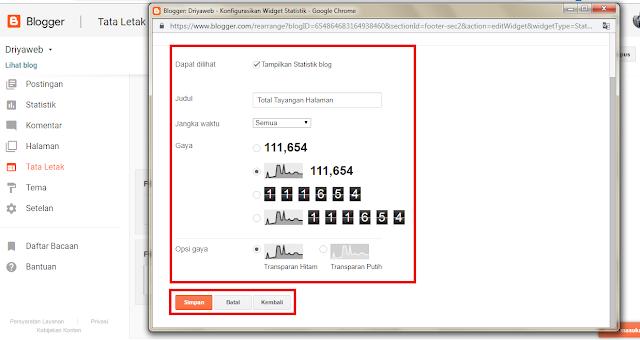 cara terbaru menambahkan widget statistik blog