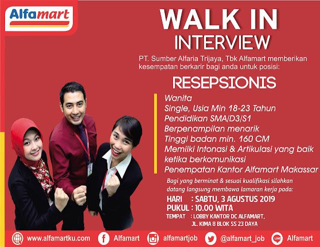 Lowongan SMA D3 S1 Alfamart Makassar Agustus 2019