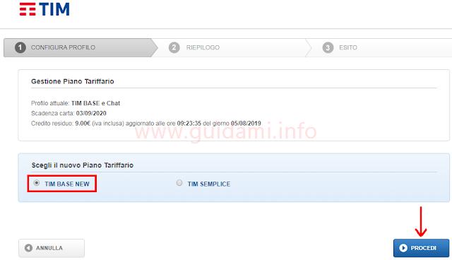 MyTim sito web configura profilo cambio profilo da TIM Base Chat a TIM Base News
