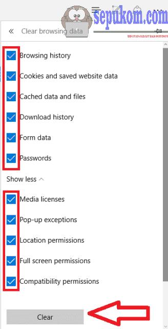 Centang semua Pilihan lalu klik clear untuk menghapus history microsoft Edge