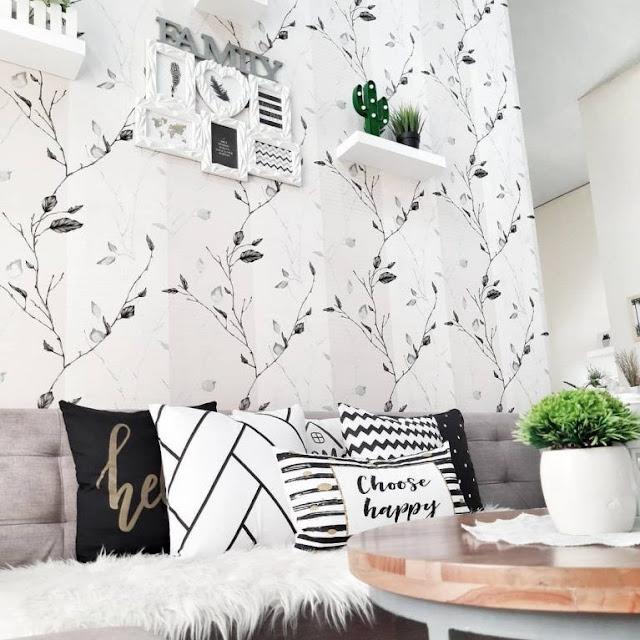 Motif Wallpaper Dinding Ruang Tamu Elegan Paling Menawan