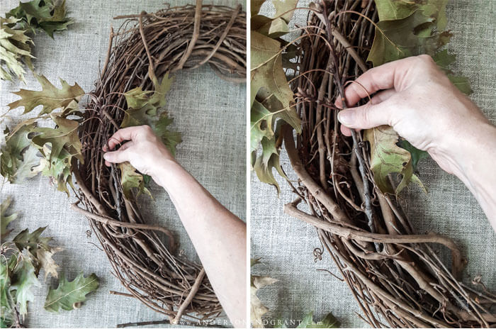 Easiest DIY Wreath ever, but oh so pretty - made with dried oak leaves and a grapevine wreath.