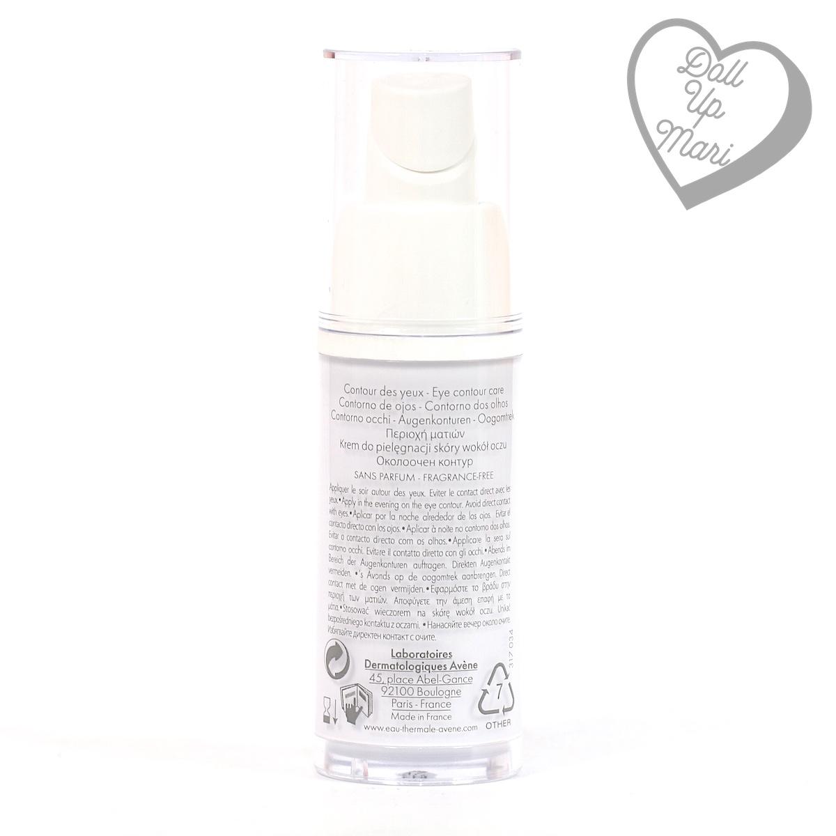 bottle rear of Avène PhysioLift Eye Contour Cream