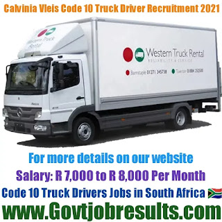 Calvinia Vleis Code 10 Truck Driver Recruitment 2021-22