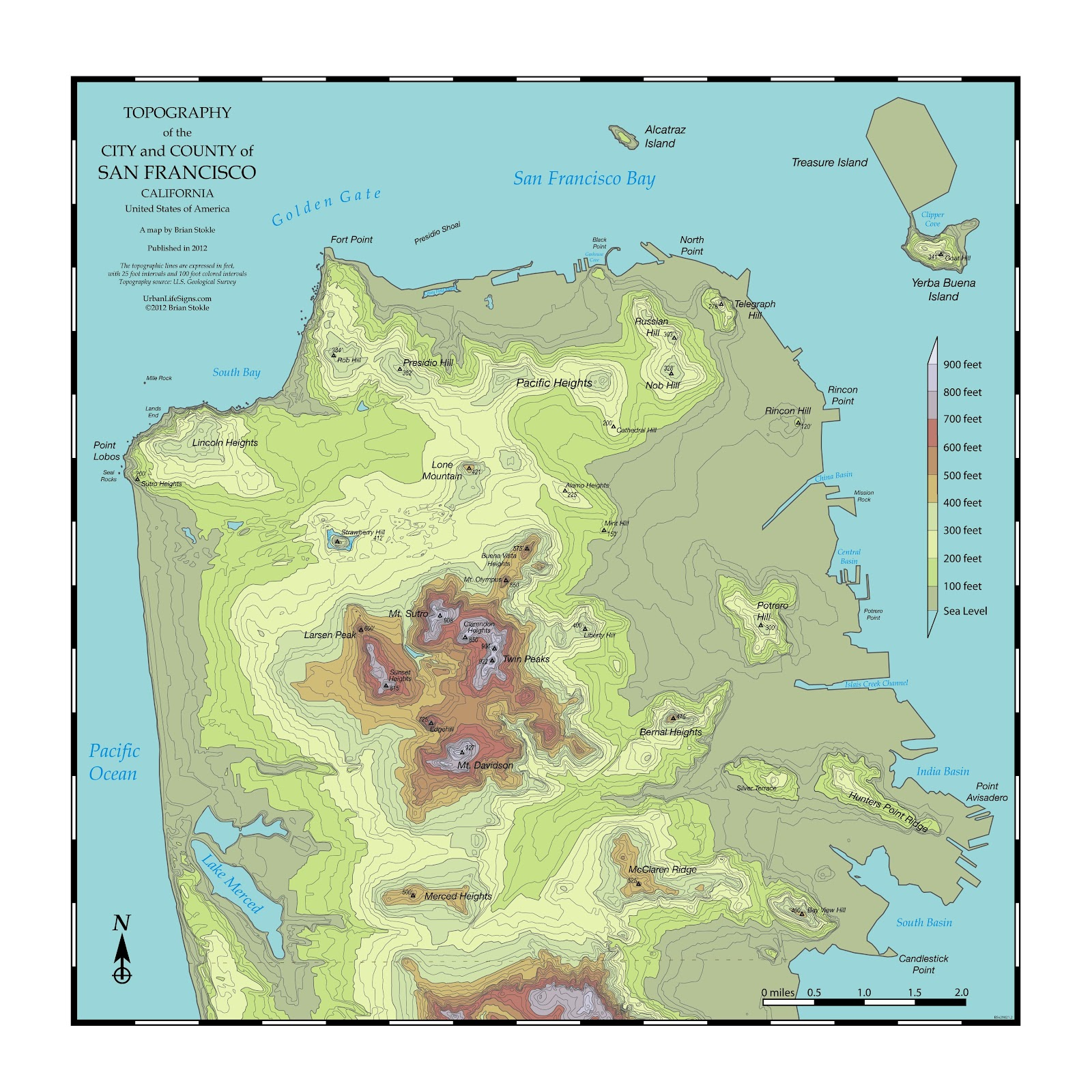 San Francisco Topo Map The Posters