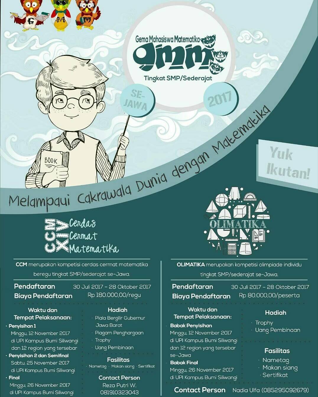 Gema Mahasiswa Matematika 2017 | Univ. Pendidikan Indonesia | SMP-SMA-Mahasiswa