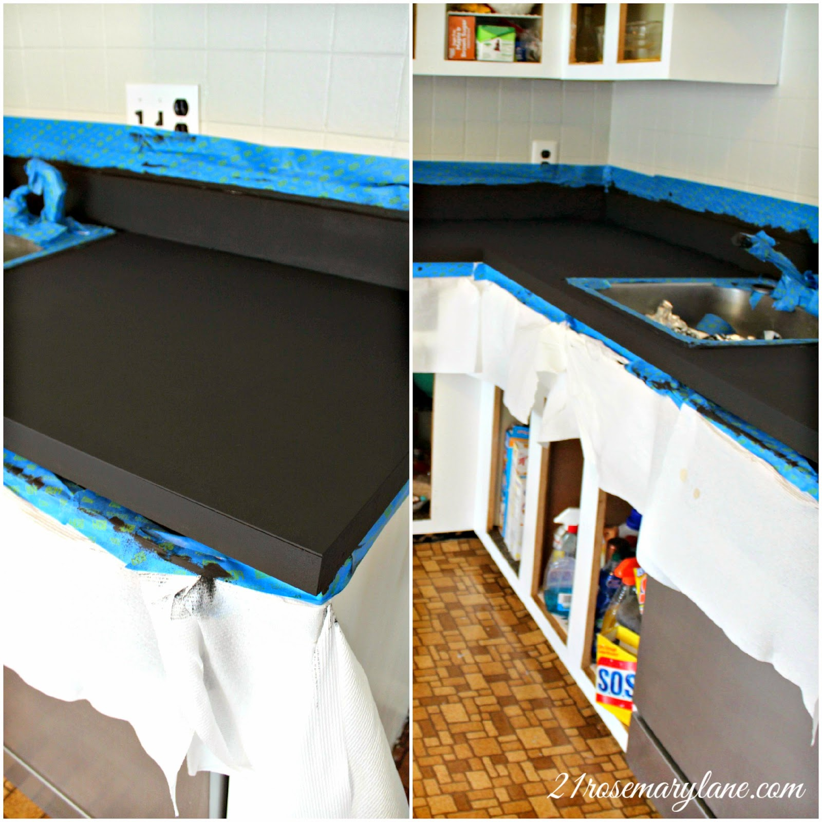 Cleaning Formica Countertops 21 Rosemary Lane Transformation Of A 1970 S Formica Countertop