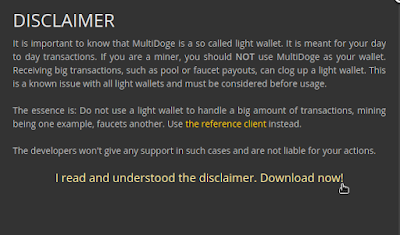 Disclimer for doge wallets