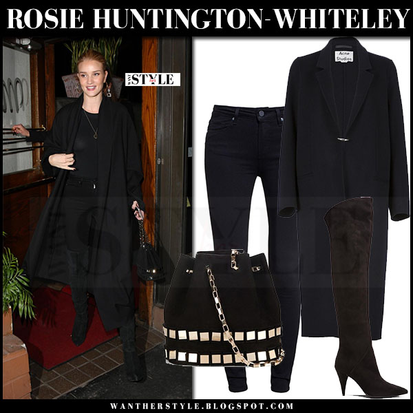 Rosie Huntington-Whiteley in black coat acne foin, black jeans and black boots saint laurent what she wore