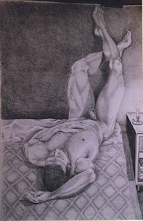 Desnudo masculino, pintor Jorge A. Marín