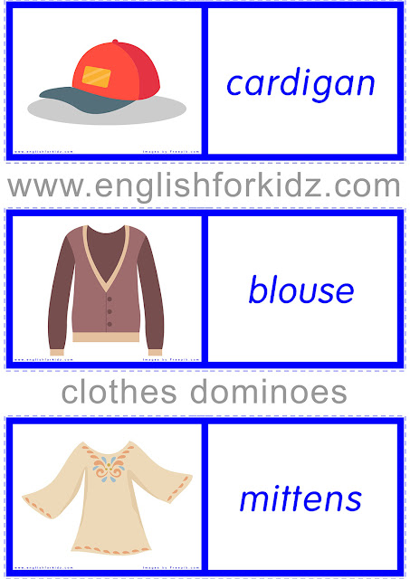 Clothes dominoes worksheet -- free ESL printable materials for teachers