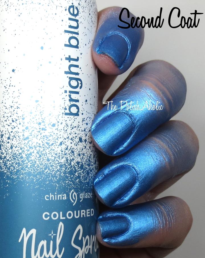 China Glaze Bright Blue Nail Spray Swatch Review Wear Test